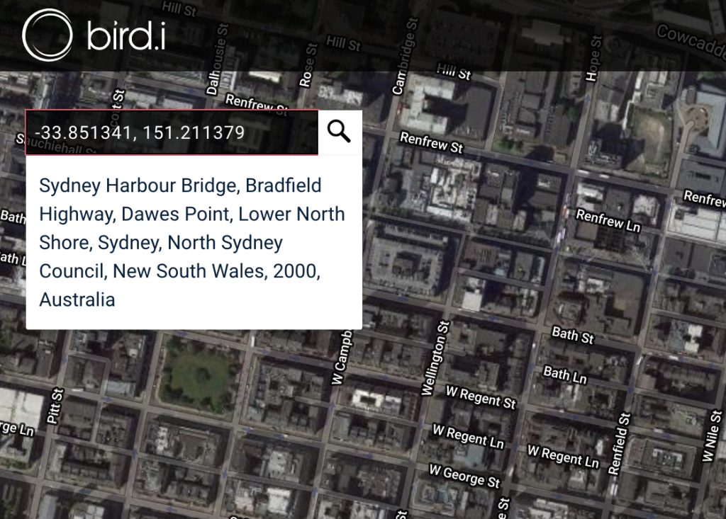 Search satellite imagery coordinates
